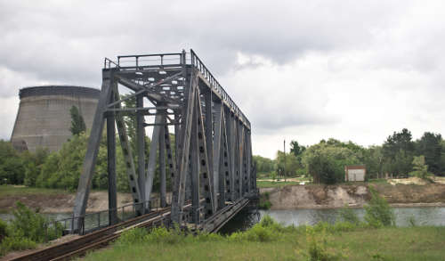 train bridge near the Chernobyl nuclear power plant; photograph by Pawel Szubert released under CC-BY-SA 3.0